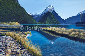 """Still Waters"" Mitre Peak, Acrylic, 900 x 600 SOLD"